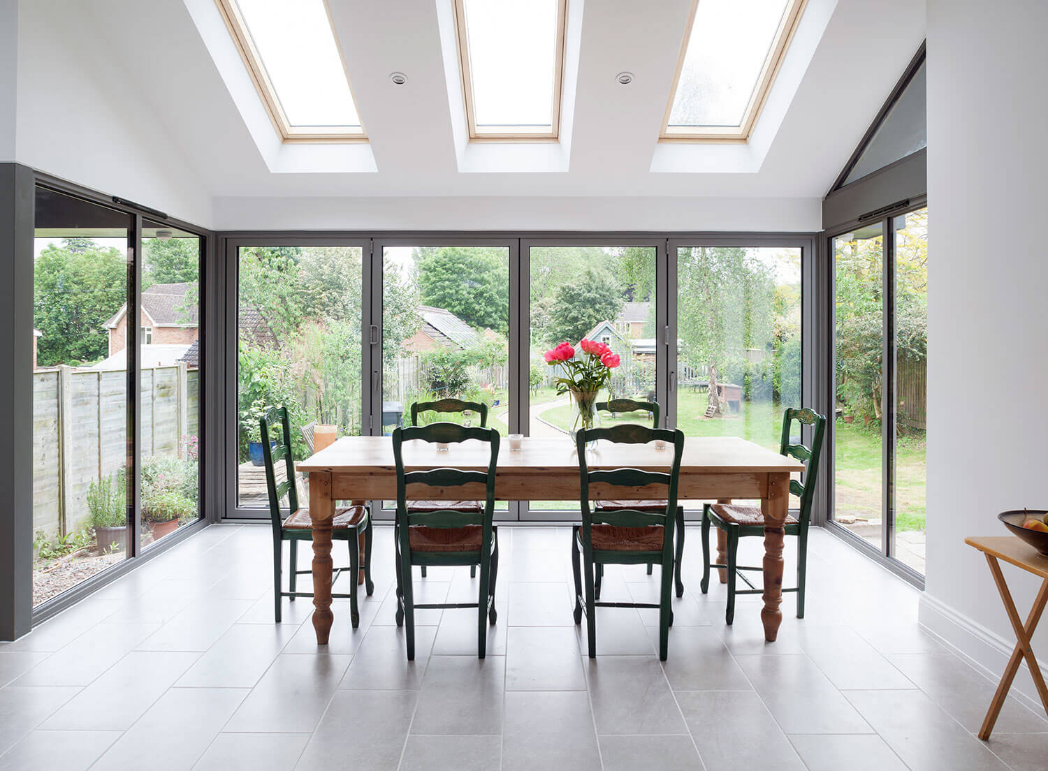 Dining table inside conservatory