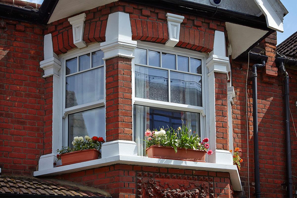 Sash windows with flower box