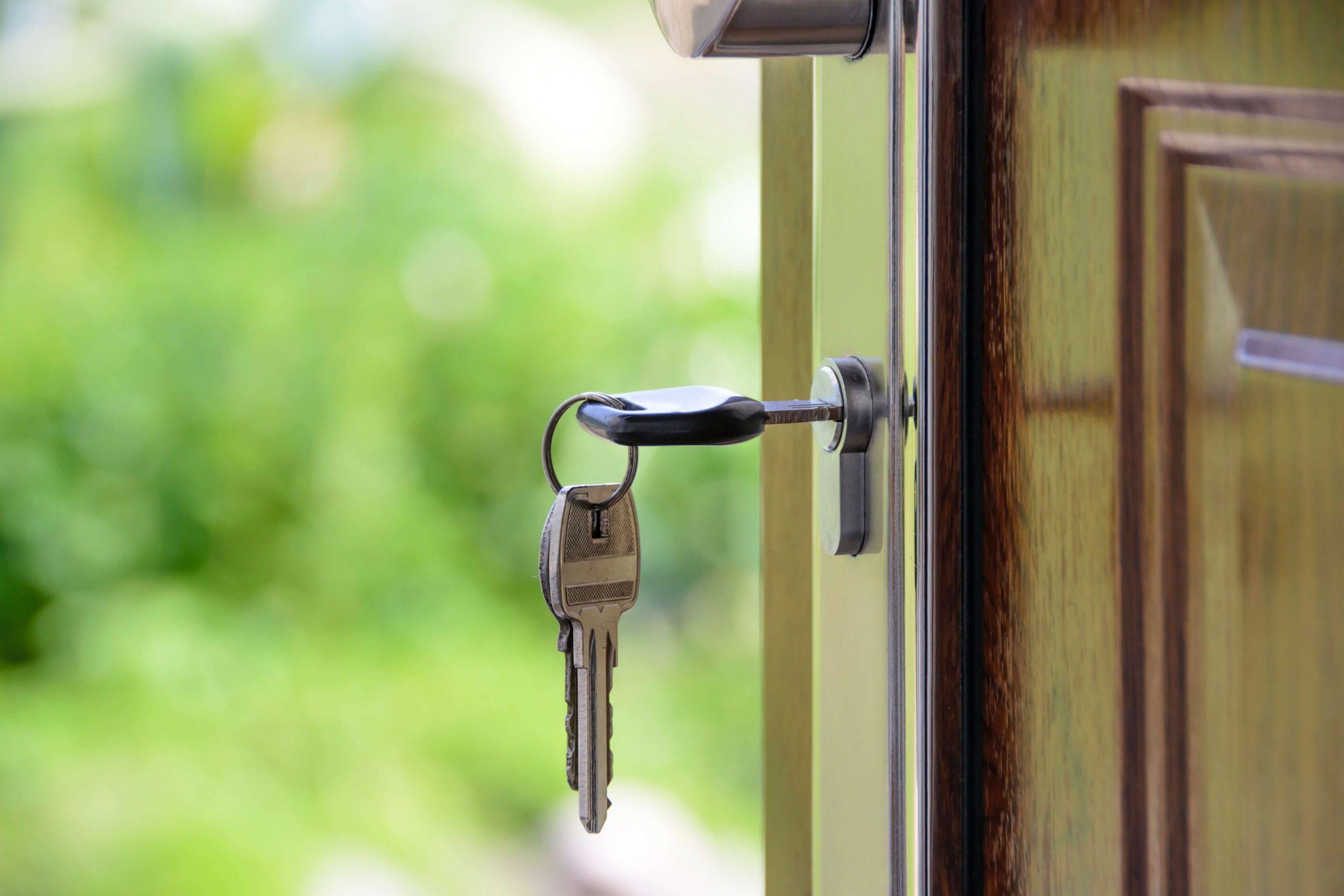 Close up of keys in door
